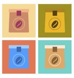 Assembly flat icons coffee paper package vector