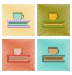 Assembly flat shading style icon book cup vector
