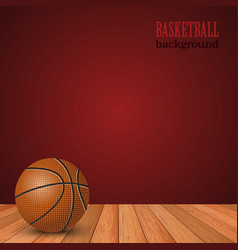 Basketball background with ball on the floor and vector