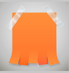 Blank orange advertisement with tear off tabs and vector