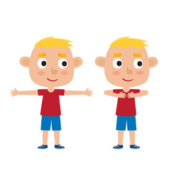 Blonde boy in exercise pose vector