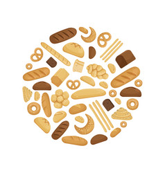 Bread and tasty bakery foods in circle shape vector