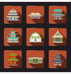 Chinese house icons tile vector