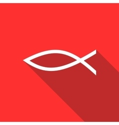 Christian fish symbol icon flat style vector
