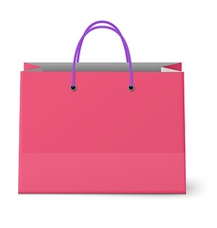 Classic shopping pink bag with violet grips vector image