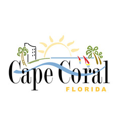 Coat arms cape coral in florida usa vector