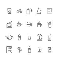 coffee and cafe shop line icon set vector image