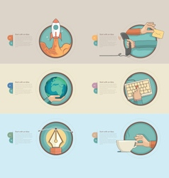 Colorful banners with concept icons for business vector image