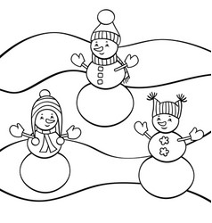 Coloring page with snowmen vector