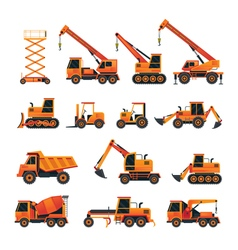 Construction Vehicles Objects Orange Set vector