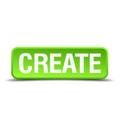 Create green 3d realistic square isolated button vector