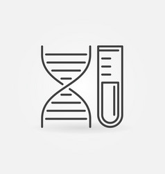 dna with test tube concept icon in thin vector image
