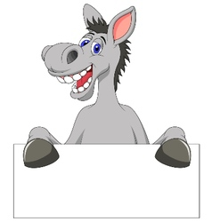 Donkey cartoon with blank sign vector