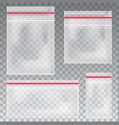 empty transparent plastic pocket bags vector image
