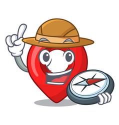 explorer map pointer navigation pin mascot cartoon vector image