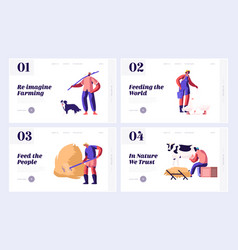 Farmers everyday routine man shepherd with dog vector