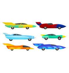Fast customized racing cars set speed vector
