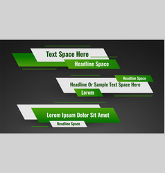 Geometric green lower third banner template design vector
