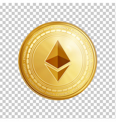 Golden ethereum blockchain coin symbol vector