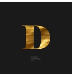 Golden letter D vector image