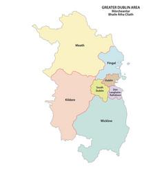 Greater dublin area administrative map vector