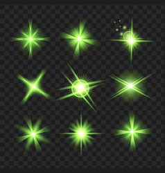 green glowing lights shape on black transparent b vector image