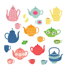 hand drawn teapot and cup collection colorful tea vector image