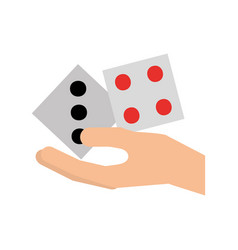Hand human with casino dices vector