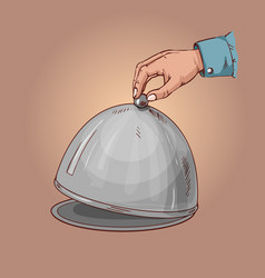 hand opens the lid of the dish on a tray order in vector image