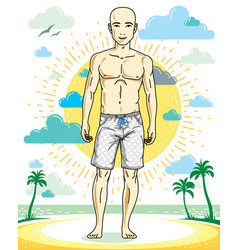 handsome hairless young man standing on tropical vector image