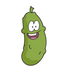 happy smiling dill pickle cartoon vector image