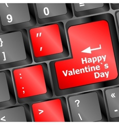 happy valentine s day button on the keyboard vector image