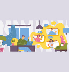home video conference concept scene man talking vector image