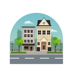 house building residential urban street with tree vector image