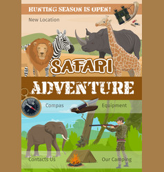 Hunting adventure african safari hunt animals vector