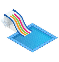Isometric colourful water slide with pool vector