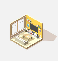 Isometric low poly living room cutaway icon vector