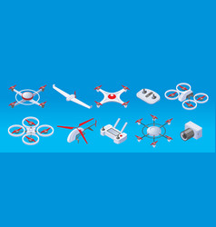 Isometric modern drones set vector