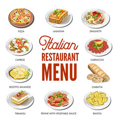 Italian cuisine food traditional dishes vector