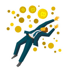 jumping businessman catch a gold bitcoins vector image