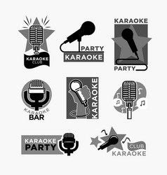 Karaoke club disco party labels templates of vector