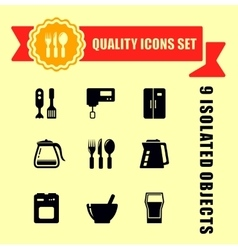 Kitchen ware quality icon set vector