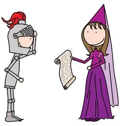 Knight and princess vector