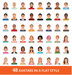 large set of avatars of men and women in a flat vector image
