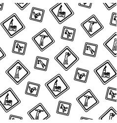 line diamond caution emblem to industry vector image