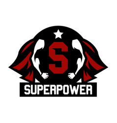 Logo superhero cloak superman muscular arms vector