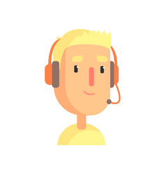 Male call center worker online customer support vector