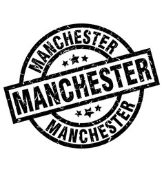manchester black round grunge stamp vector image vector image