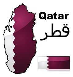 Map and flag of Qatar vector