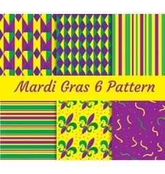 Mardi Gras seamless pattern set Collection of vector